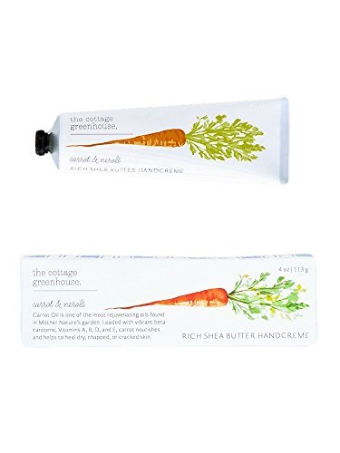 The Cottage Greenhouse Carrot & Neroli Rich Shea Butter Handcreme, 4 oz | Paraben Free, Gluten Free, Cruelty Free, Moisture Rich, Vegan, Natural Emollients of Jojoba and Carrot Oils Hand Cream - Little Giant Cottage