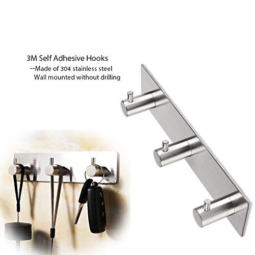 Towel Hook, Stainless Steel Robe/ Coat/ Clothes/ Key Bath Hook Wall Hanger Rack 3M Self Adhesive Hook for Kitchen, Bathroom, Bedroom  (3 in 1 Straight Hook)