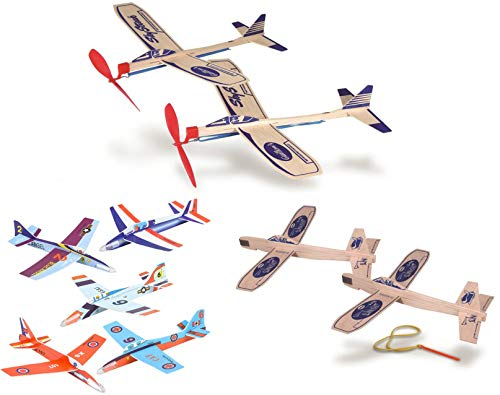 Balsa Wood and Foam Airplane Set - 2 Balsa Wood Rubberband Propellor Planes, 2 Sling Shot Balsa Wood Planes, and 6 Foam Model Plane Kits in 1 Set - Slingshot Plane Twin Set, Sky Streak Propeller Plan