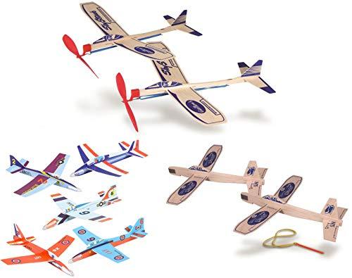 Balsa Wood and Foam Airplane Set - 2 Balsa Wood Rubberband Propellor Planes, 2 Sling Shot Balsa Wood Planes, and 6 Foam Model Plane Kits in 1 Set - Slingshot Plane Twin Set, Sky Streak Propeller Plan