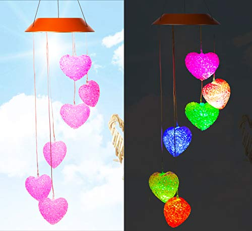 - Solar Pink Heart Wind Chimes, Outdoor Waterproof Mobile Romantic LED Color-Changing Multi Solar Sensor Powered Wind Chimes Lights for Home, Yard, Night Garden, Party, Valentines Gift, Festival Decor