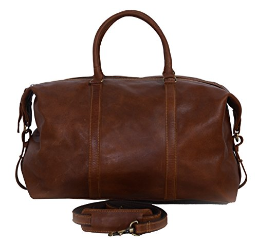 - KomalC Leather Duffel Bag Brown Soft Full Grain Buffalo Leather 21 inch Holdall Travel Sports Overnight Weekend Gym Cabin Bag