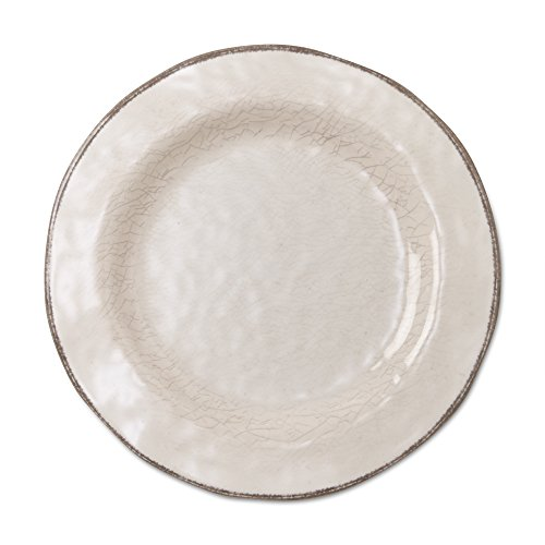 Edge China Saucer - tag - Veranda Melamine Salad Plate, Durable, BPA-Free and Great for Outdoor or Casual Meals, Ivory (Set Of 4)