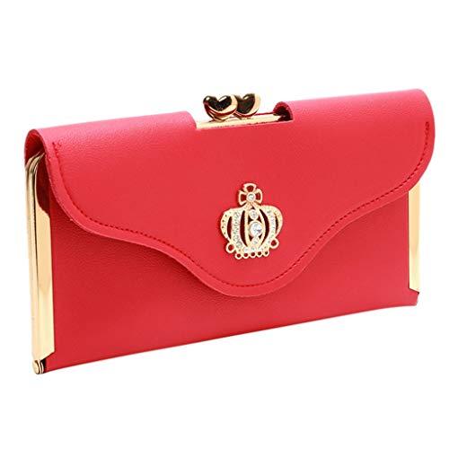 Cloudro Crown Diamond Wallet,Women Envelope Clutch Purse Long Patent Leather Wallet