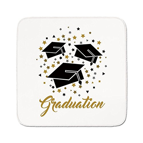 Cozy Seat Protector Pads Cushion Area Rug,Graduation Decor,Academy Achievement Bachelor Theme Thrown Caps Tassels Vibrant Stars,Gold Black Grey,Easy to Use on Any Surface ()