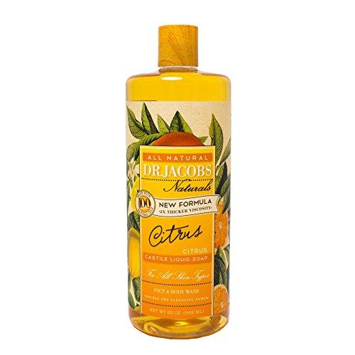 Dr. Jacobs Naturals Pure Castile Liquid Soap - Natural Face and Body Wash, Citrus 32 oz.