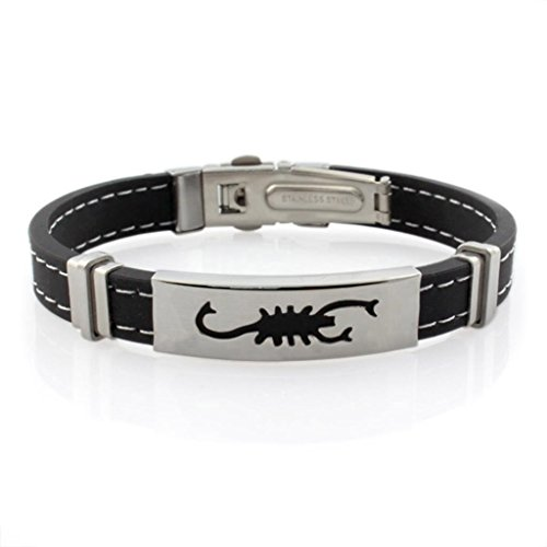 Scorpio Silicone Rope Titanium Stainless Steel White Bangle Bracelet for Men 8.5