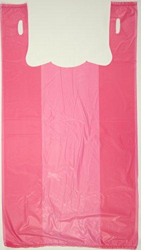 Plastic Bag-Pink Plain Embossed T-Shirt Bag 11.5