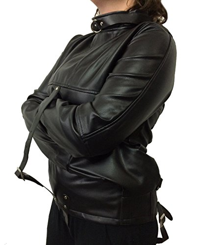 Unisex Black Faux Leather Straight Jacket Costume -