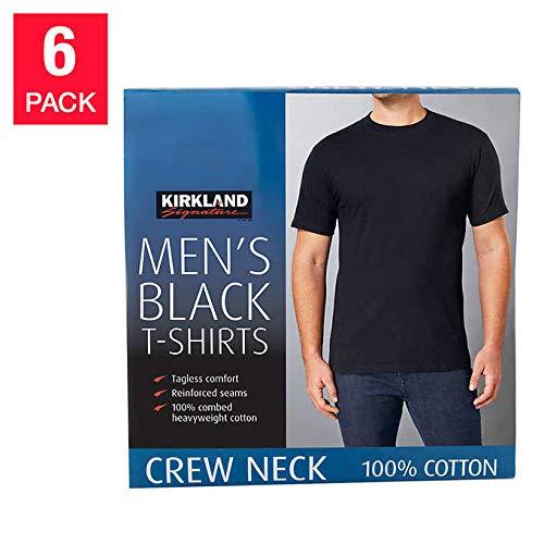 Kirkland Signature Men's Crew 100% Cotton Tagless Neck Tee, 6-Pack (Black, X-Large)