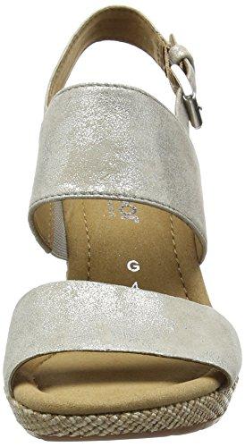 Gabor Anna, Sandales Compensées Femme Beige - Beige (Beige Metallic Leather)