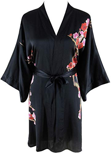 - Ledamon Women's 100% Silk Kimono Short Robe - Classic Handpainted Enclosed in an Elegant Gift Box (Black)