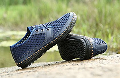 Moda Zapatos de Bebete5858 Zapatos de Verano Casuales Verano Suave Marca de Hombre cómodo de Cuero resbalón la Malla para en Genuino Zapatos Hombre Azul Transpirable z0zqnTp