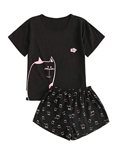 DIDK Women's Cat Print Round Neck Short Sleeve Tee and Shorts Pajama Set Black L