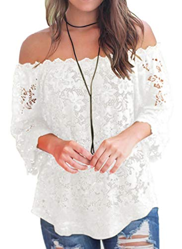 Bloggerlove Womens Lace Summer Ruffle Off Shoulder Boho Tops Fashion Blouse White XL