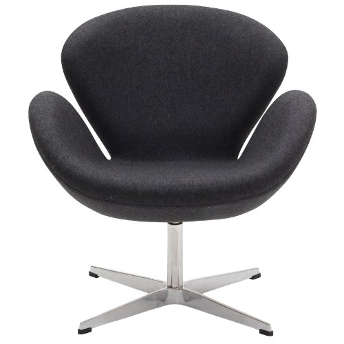 Price comparison product image Modway Wing Wool Upholstered Lounge Chair in Dark Gray