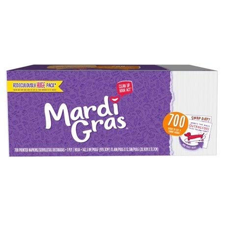 Mardi Gras Napkins 700ct with Conversation Starter Prints! (Pack of 2) Made in USA by MARDI GRAS