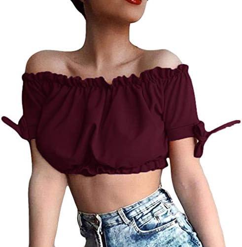 JURTEE Camiseta Corta para Mujer 2019 Nueva Solid Color ...