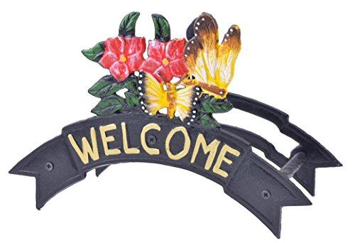 Import Wholesales Welcome Garden Hose Holder Hanger Butterflies & Flowers Black Cast Iron 12.38