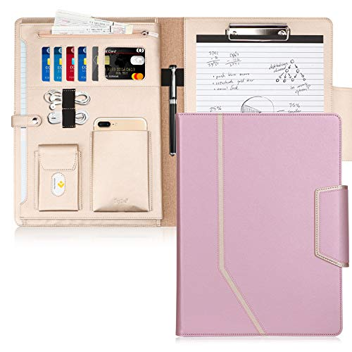 Toplive Padfolio Portfolio Case, Conference Folder Executive Business Padfolio with Document Sleeve,Letter/A4 Size Clipboard,Business Card Holders, Portfolio Padfolio for Women/Men,Rose Gold