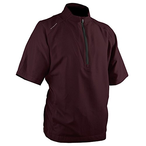(Sun Mountain Brushed Solo Short Sleeve Golf Pullover Maroon/Steel Large)