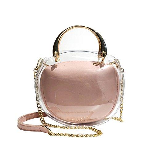 LUOEM Shinny Transparente Crossbody Bolsas PU cuero bolso del bolso del totalizador del hombro del laser para las mujeres (rosa)