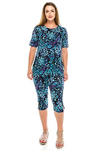 Jostar Women's Stretchy Capri Pant Set Short Sleeve Print Medium Purple Flower