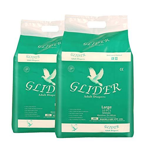 Glider Premium Adult Diaper (Pack of 2) (20 Count) (Medium)