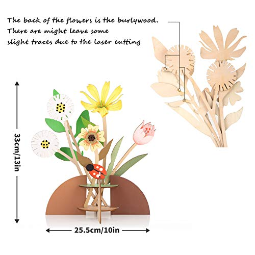 Gifts for Mom, 3D Wooden Flower Boutique Artificial Flower Table Decor Reed Diffuser Card DIY Crafts Puzzle Block, Birthday Anniversary for Women, Mother, Girlfriend