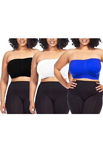 Dinamit Fashion 3-Pack Plus Size Seamless Strapless Bandeau Tube Top Bra,Black-white-royal,1X-2X - Seamless Strapless Tube Top
