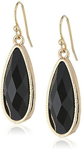 1928 Jewelry Gold-Tone Black Elongated Teardrop (Elongated Teardrop Ring)