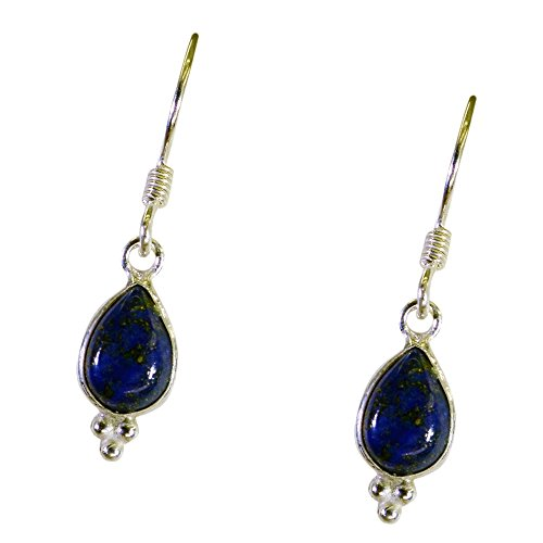 Gemsonclick Natural Lapis Lazuli Earring For Women 925 Sterling Silver Jewelry Pear Shape Drop Hook Style
