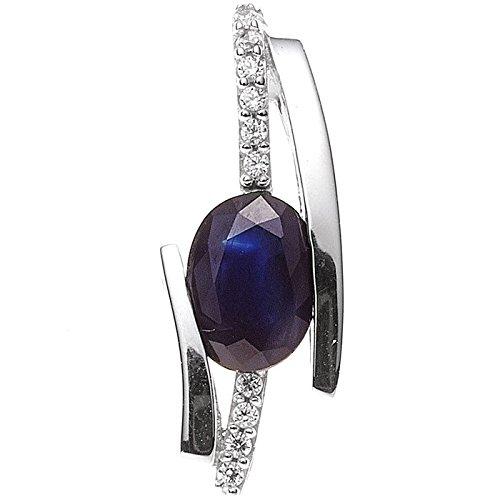 Pendentif avec solitaire en or blanc 585 sertie d'un saphir bleu saphir et diamants brillants pour femme