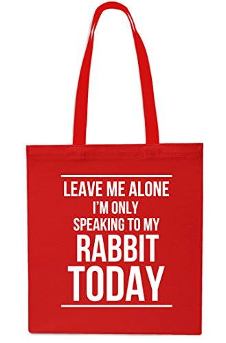 I'm Gym Beach RED Leave Shopping Tote Alone BLACK x38cm Bag 10 Rabbit Only My To Today litres Speaking Me 42cm HwPwq7E