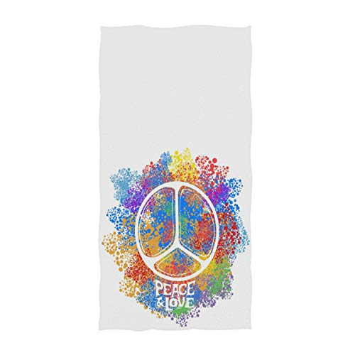 Naanle Colorful Hippie Symbol Print Idea Peace Freedom Love Antiwar Spirituality Soft Bath Towel Large Hand Towels for Bathroom, Hotel, Gym and Spa (16 x 30 Inches,White)