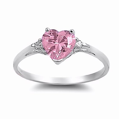 Patsy: Heart-cut Pink Ice on Fire CZ and IOF CZ Promise Friendship Ring 925 Silver, 3209A sz 10.5 (Ice Pink Ring Heart)