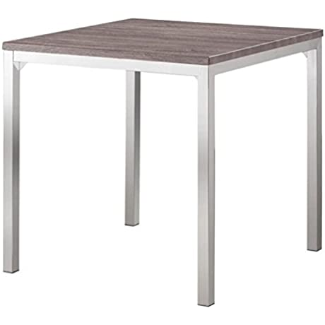 Bowery Hill Counter Height Dining Table In Weathered Gray And Chrome