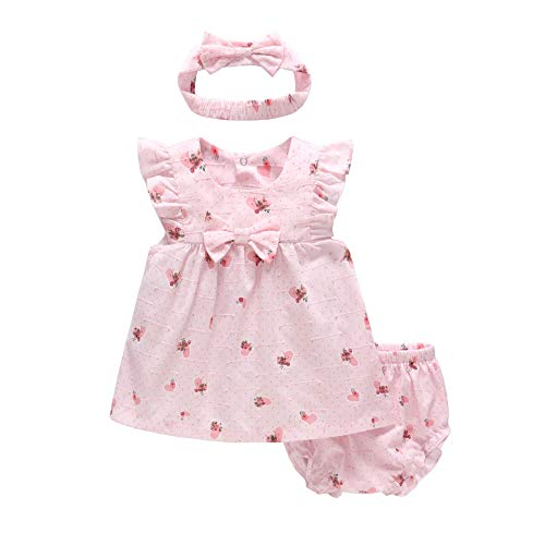 Baby Girls 3-Piece Short Sleeve Dress+Pants Shorts + Bow Headband Outfits Clothes Set,Pink Butterfly, 9-12M
