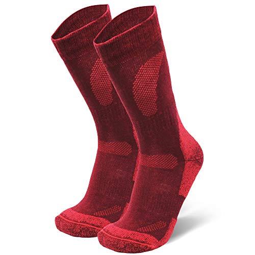 DANISH ENDURANCE Merino Wool Hiking & Trekking Socks (Wine Red 1 Pair, US Women 11-13 // US Men 9.5-12.5)