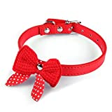 Haoricu Pet Collars, Knit Bowknot Adjustable PU Leather Dog Puppy Necklace (Red)
