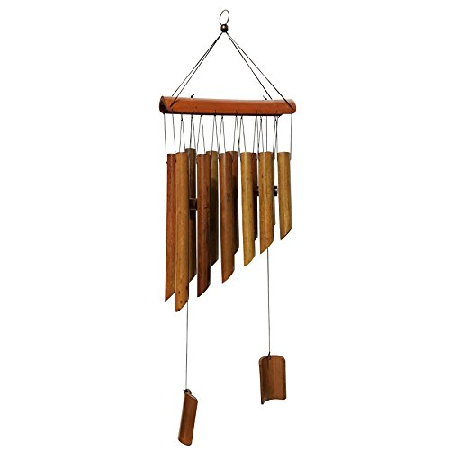 MAYMII Large 65cm (25″) 12 Tubes Double Antique Nature Bamboo Feng Shui Wind Chime Indoor Outdoor Wooden Melody Wind Bell Review