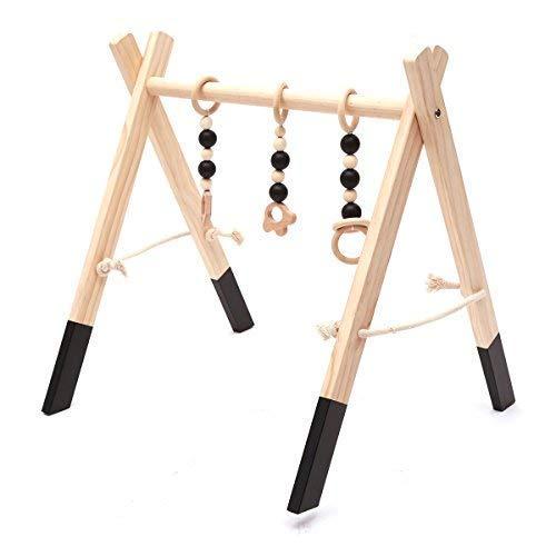 HB.YE Babyspielzeug aus Holz Puzzle gym Spieltrapez inkl Anh/änger Babygymnastik aktiv Spielzeug Babyzimmer Kinderzimmer Dekoration Blau, A