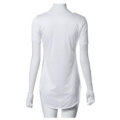 Party Side Tops Lookatool White Casual Slit Sleeve Mini Shirt T Dress Short Women's HCqxwz