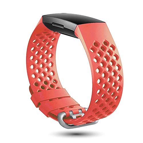 X4-Tech Compatible with Fitbit Charge 3 Bands Women Men, Soft Breathable Silicone Sports Straps Compatible with Charge 3 & Charge 3 SE (Orange red)