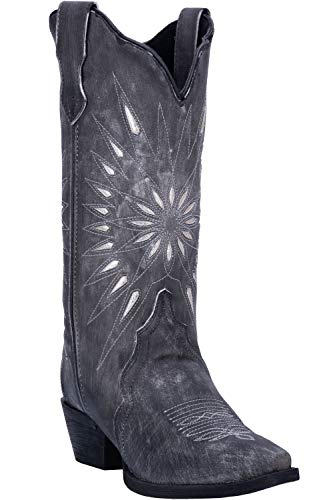 Laredo Womens Black Starburst Leather Cowboy Boots 12in Cutout 10 ()