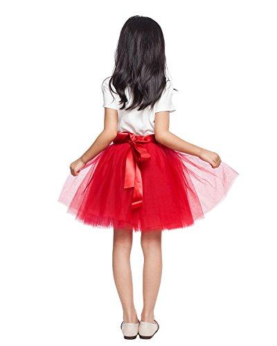 Little Girl Tutu Skirt A Line 7 Layers Tulle Skirt Party Princess Dance Tutu Dress (3T -10T) Red