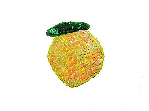 Altotux Yellow Lemon Orange Fruit Seed Beaded Sequins Motif Applique Patch (Lemon) ()