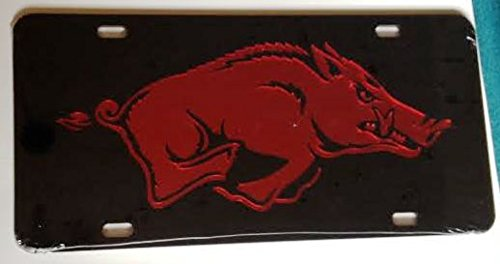 Black Red Mirrored Car Tag - Hogs License Plate ()