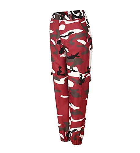 Rosso Con Tasche Pantaloni Cargo Vino Sciolto Alta Donna Pants Jeans Jltph Sportivi Mimetici Vita Y0qOUHZ