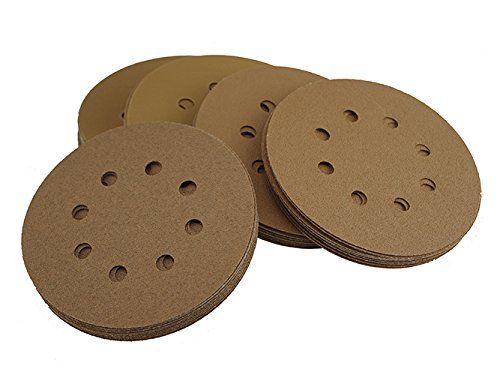 Accessories Abrasives 5 Inch Sanders (5 Inch Sanding Discs 8 Hole Grit 80/100/120/150/220 10pcs each Assorted Special Anti Clog Coating Tigershark Paper Gold Line Hook and Loop Dustless Random Orbital Sander Paper)